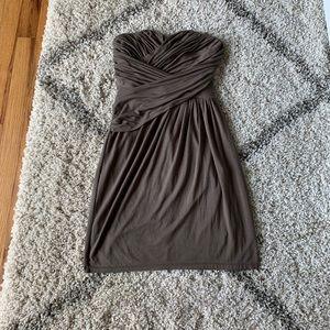 2/$10 ⭐️Express Strapless Draped Dress Gray/Green
